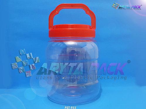 Toples plastik PET 2 liter pendek tutup merah