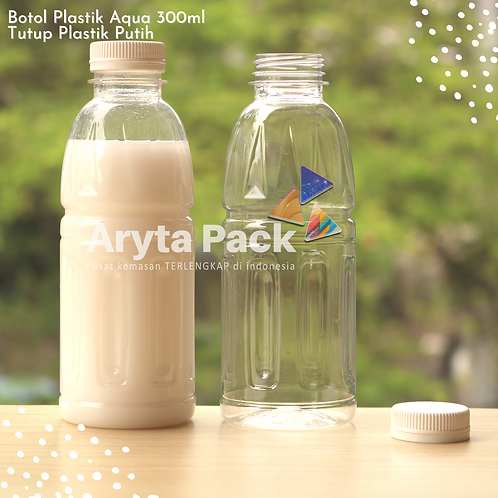 Botol plastik pet 300ml aqua aneka tutup segel putih