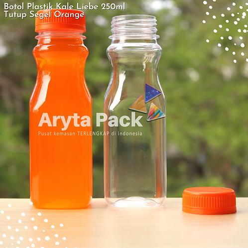 Botol plastik minuman 250ml jus kale liebe tutup segel orange