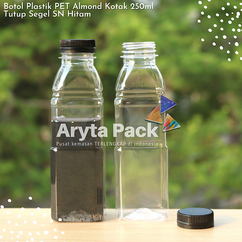 Botol plastik minuman 250ml almond kotak tutup segel hitam