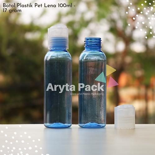 Botol plastik PET Lena 100ml  biru tutup press on natural