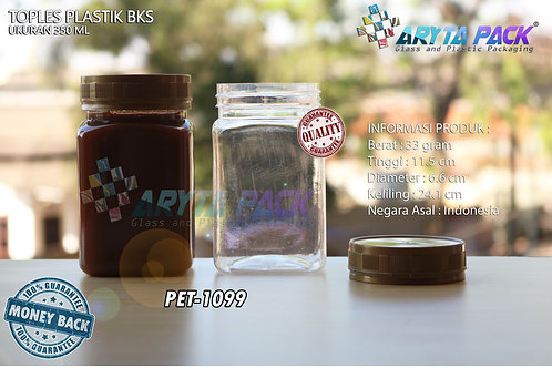 Toples plastik PET 350ml BKS tutup gold