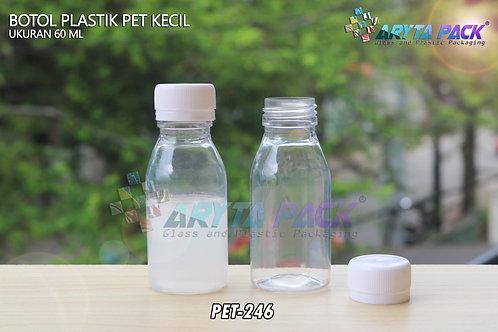 Botol plastik minuman 60ml kecil natural tutup segel