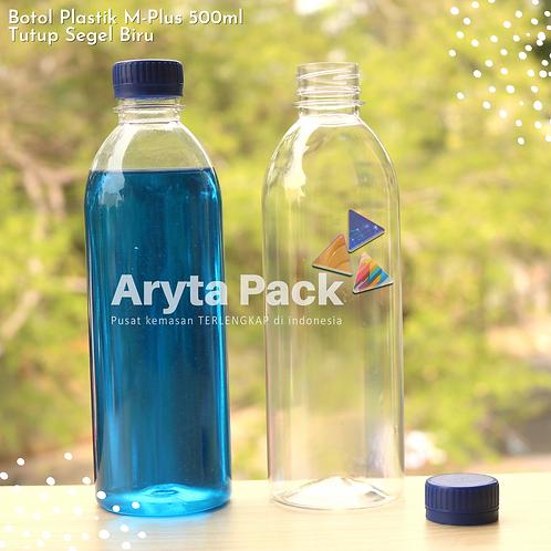 Botol plastik minuman 500ml M-plus tutup biru segel