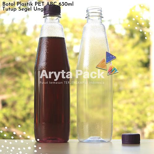 Botol plastik minuman 630ml ABC tutup segel ungu