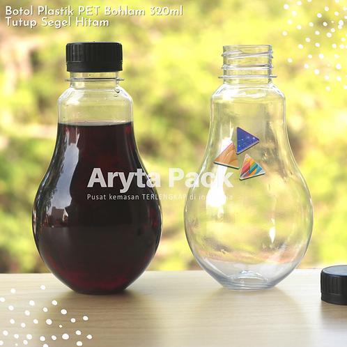 Botol plastik minuman bohlam 320ml tutup tinggi hitam segel