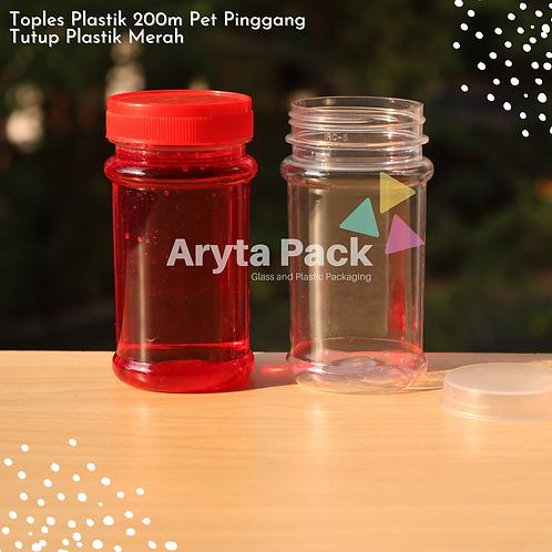 Toples plastik PET 200ml pinggang tutup merah