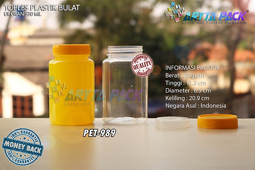 Toples plastik pet 330ml bulat tutup kuning