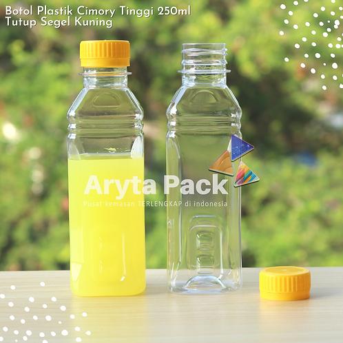 Botol plastik minuman 250ml cimory tinggi tutup segel kuning