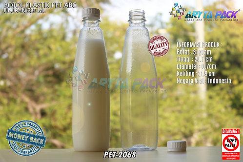 Botol plastik minuman 630ml ABC tutup segel putih