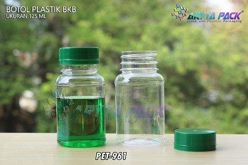 Botol plastik minuman 125ml BKB tutup segel hijau