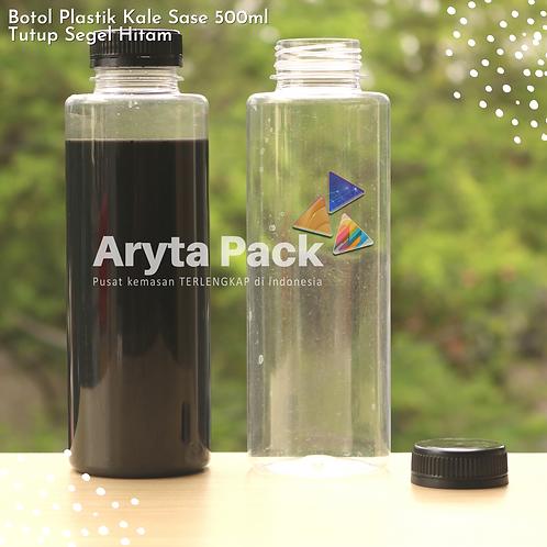 Botol plastik minuman 500ml jus kale sase tutup segel hitam