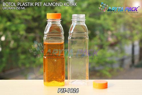 Botol plastik minuman 250ml almond kotak tutup segel orange