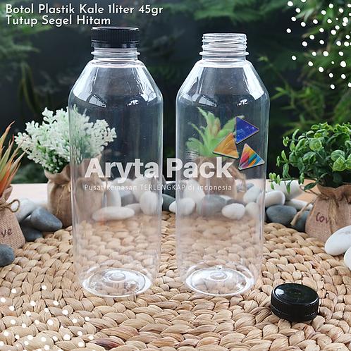Botol plastik minuman 1liter jus kale 45gr tutup segel warna - warni