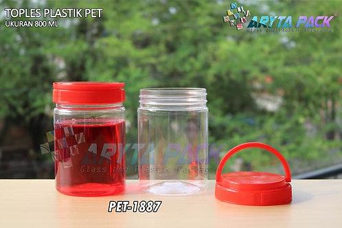Toples plastik pet 800ml tutup ulir handle merah