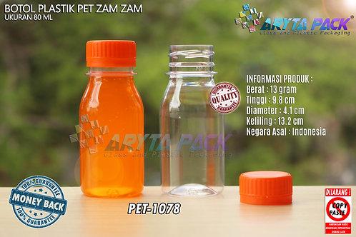 Botol plastik PET 80ml zam-zam tutup segel orange