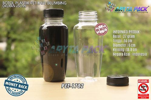 Botol plastik minuman 250ml jus kale belimbing tutup hitam segel