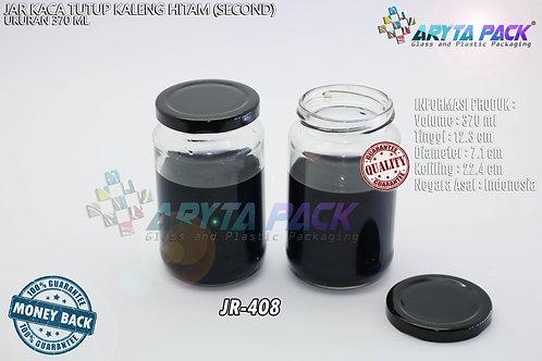Jar kaca 370ml tutup kaleng hitam second