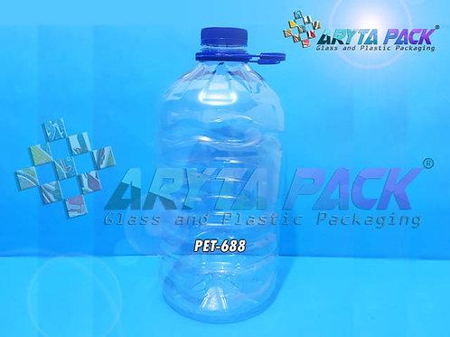 Galon plastik PET 5 liter bening tutup ulir segel + tangkai