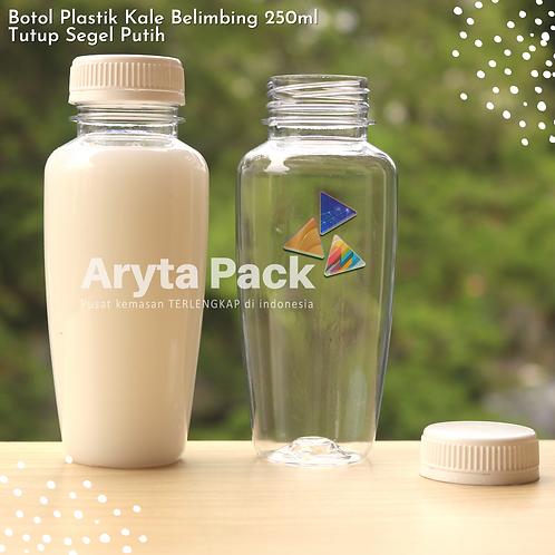Botol plastik minuman 250ml jus kale belimbing tutup putih segel