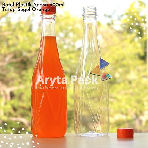 Botol plastik minuman 630ml angsa tutup segel orange