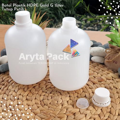 Botol plastik HDPE 1 liter gold G tutup putih