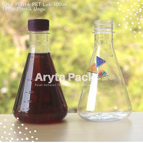 Botol plastik minuman 300ml lab tutup segel ungu