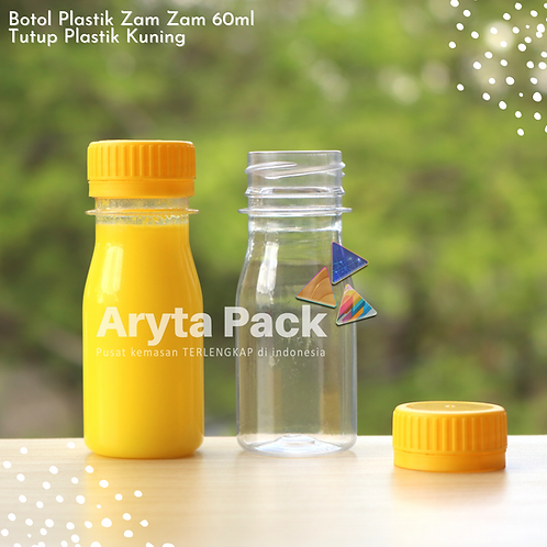 Botol plastik PET 60ml zam-zam tutup segel kuning