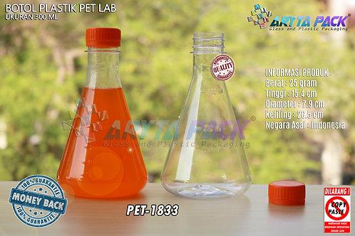 Botol plastik minuman 300ml lab tutup segel orange