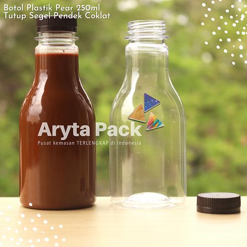 Botol plastik minuman 250ml pear tutup segel pendek coklat