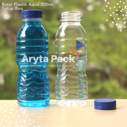Botol plastik pet 200ml aqua tutup segel biru