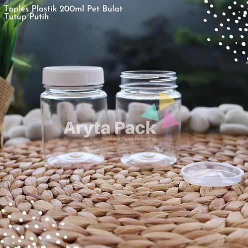 Toples plastik PET 200ml selai bulat tutup putih