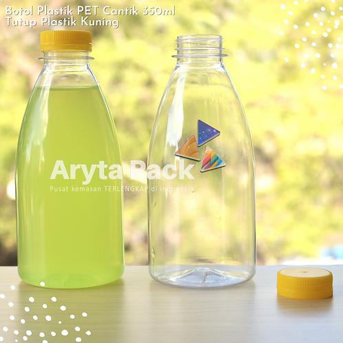 Botol plastik minuman cantik 350ml tutup segel kuning