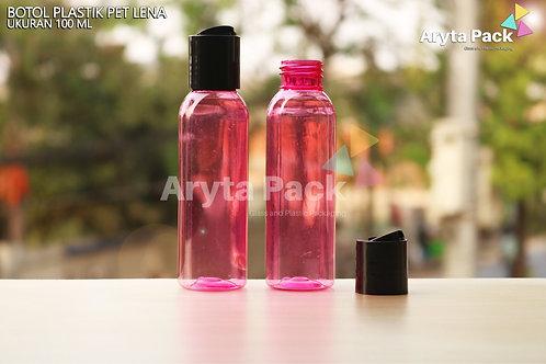 Botol plastik PET Lena 100ml pink tutup press on hitam