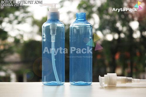 Botol plastik PET 250ml Joni biru tutup pump natural