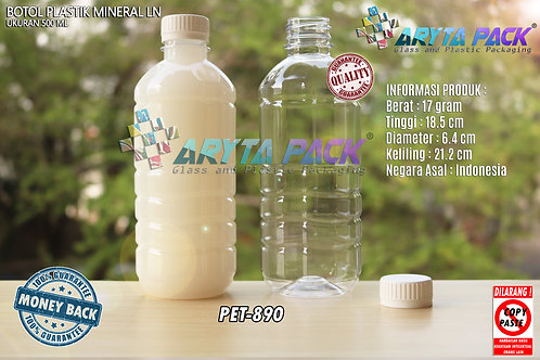 Botol plastik pet 500ml aqua tutup segel putih