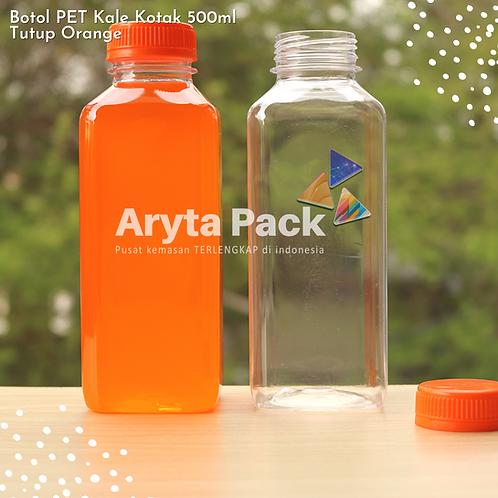 Botol plastik minuman 500ml jus kale kotak tutup orange segel