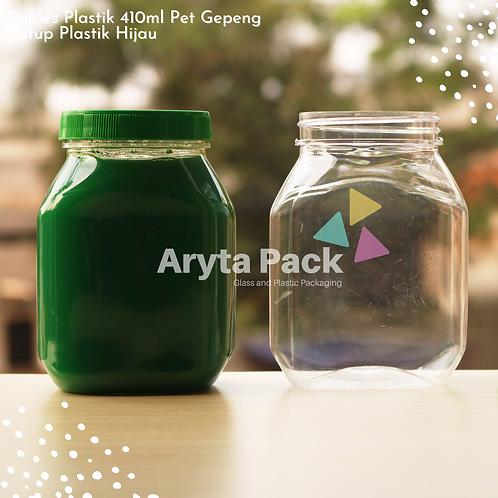 Toples plastik PET 410ml gepeng tutup hijau