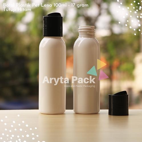 Botol plastik PET Lena 100ml  putih susu tutup press on hitam