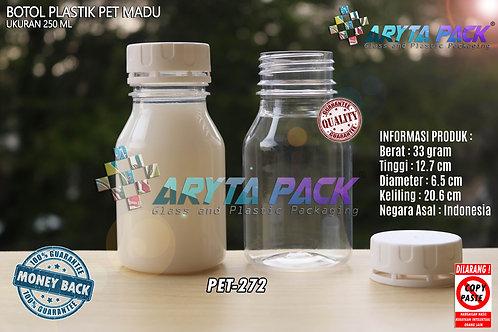 Botol plastik PET 250ml Madu tutup segel