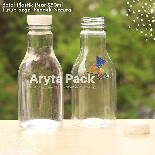 Botol plastik minuman 250ml pear tutup segel pendek natural