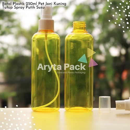 Botol plastik PET 250ml joni kuning tutup spray putih susu