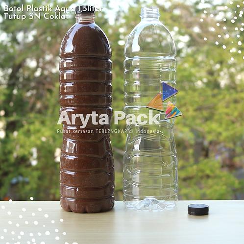 Botol plastik pet 1,5liter aqua tutup segel pendek coklat