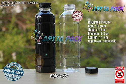 Botol plastik minuman 330ml almond tutup segel hitam