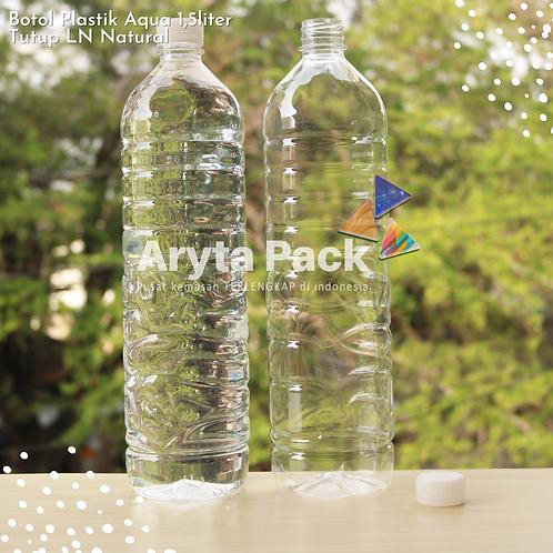 Botol plastik pet 1,5liter aqua tutup segel pendek natural