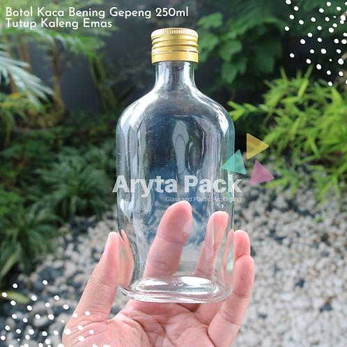 Botol kaca bening gepeng 250ml second tutup emas kaleng