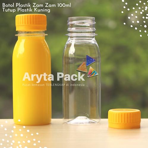 Botol plastik PET 100ml zam-zam tutup segel kuning