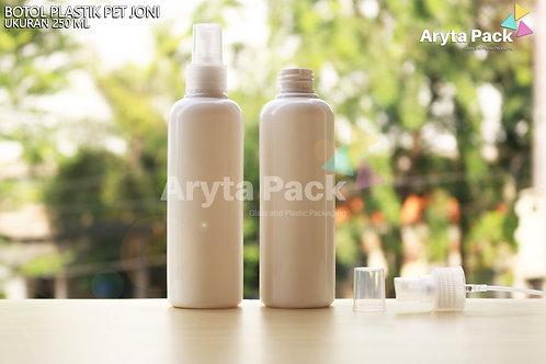 Botol plastik PET 250ml joni putih susu tutup spray natural