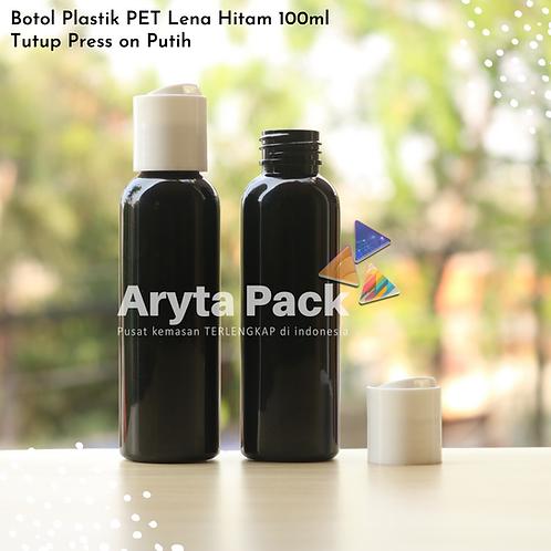 Botol plastik PET Lena 100ml  hitam tutup press on putih susu