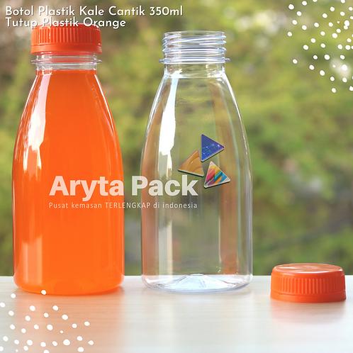 Botol plastik minuman kale cantik 350ml tutup segel orange